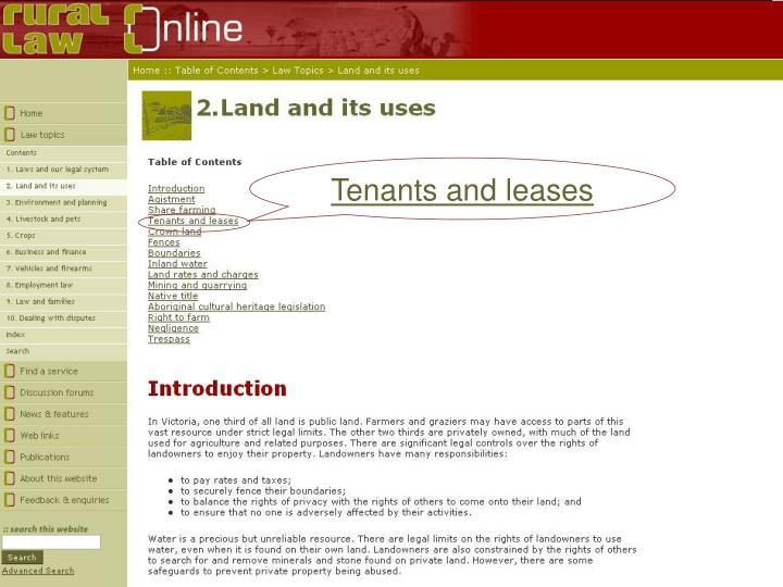 Tenants and leases
