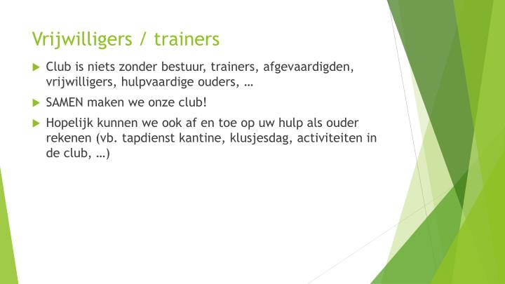 Vrijwilligers / trainers