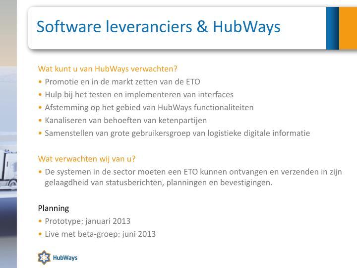 Software leveranciers & HubWays