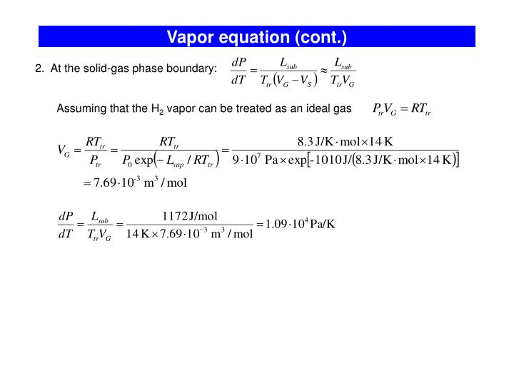 Vapor equation (cont.)