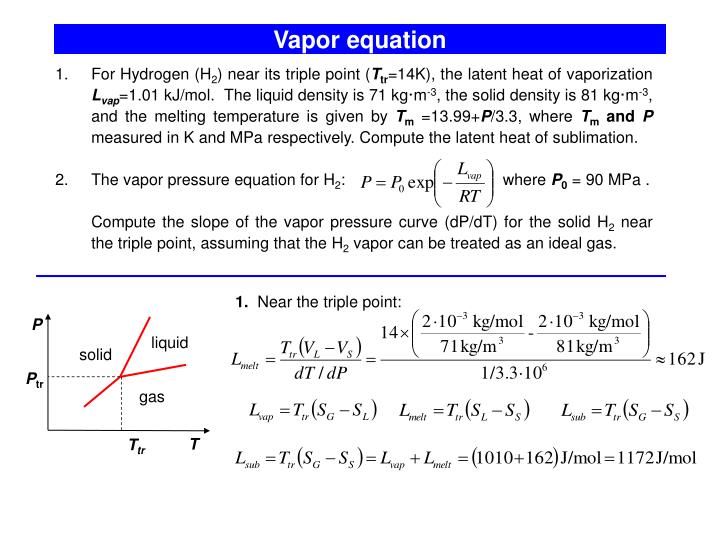Vapor equation