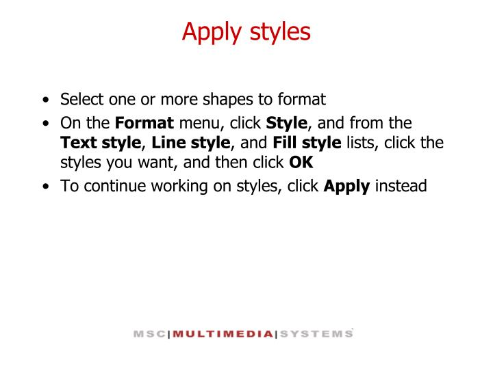 Apply styles