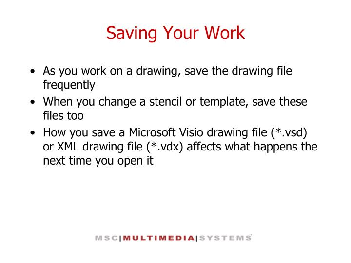 Saving Your Work