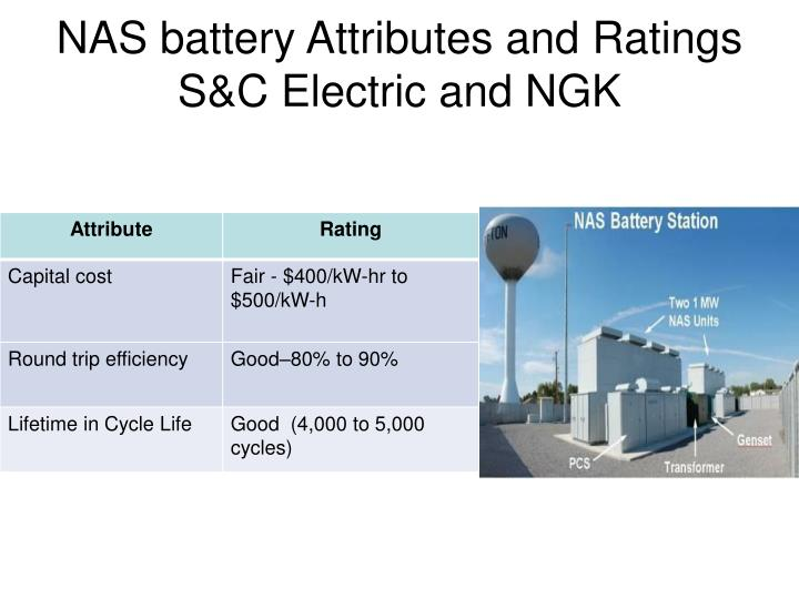 NAS battery Attributes and Ratings