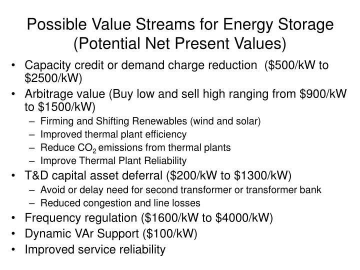 Possible Value Streams for Energy Storage