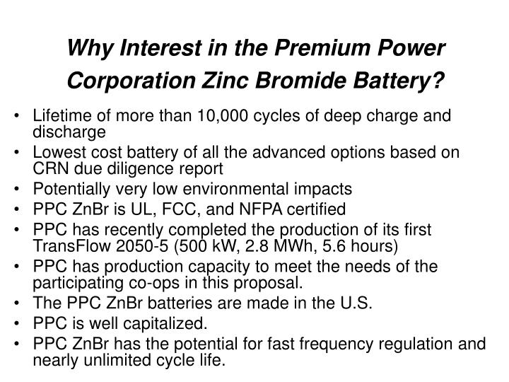 Why Interest in the Premium Power Corporation Zinc Bromide Battery?