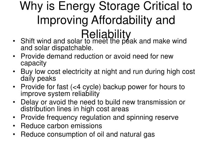 Why is Energy Storage Critical to Improving Affordability and Reliability