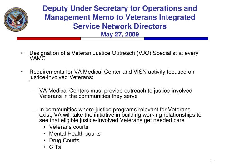 Deputy Under Secretary for Operations and Management Memo to Veterans Integrated Service Network Directors