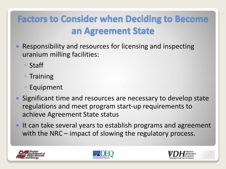 Responsibility and resources for licensing and inspecting uranium milling facilities: