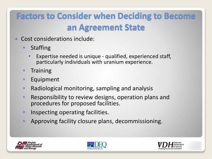 Cost considerations include: