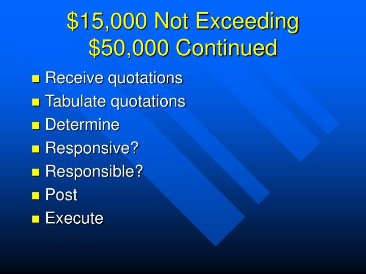 $15,000 Not Exceeding $50,000 Continued