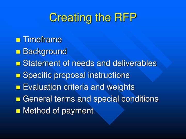 Creating the RFP