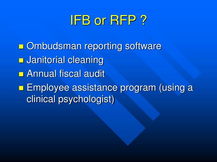IFB or RFP ?