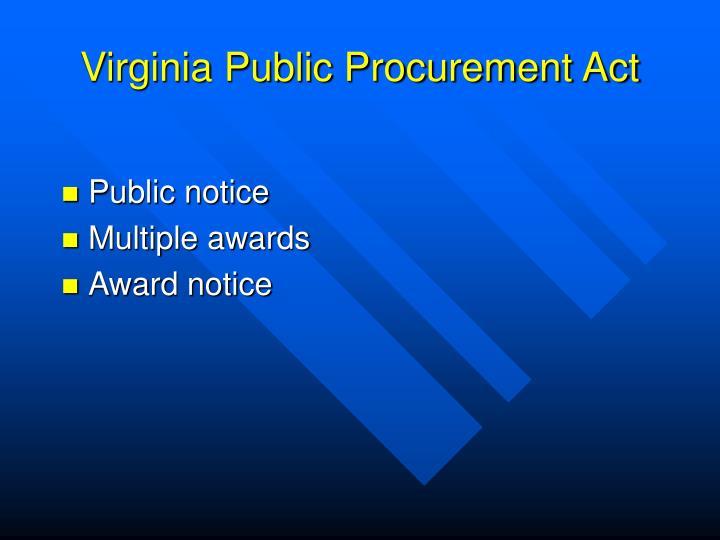 Virginia Public Procurement Act