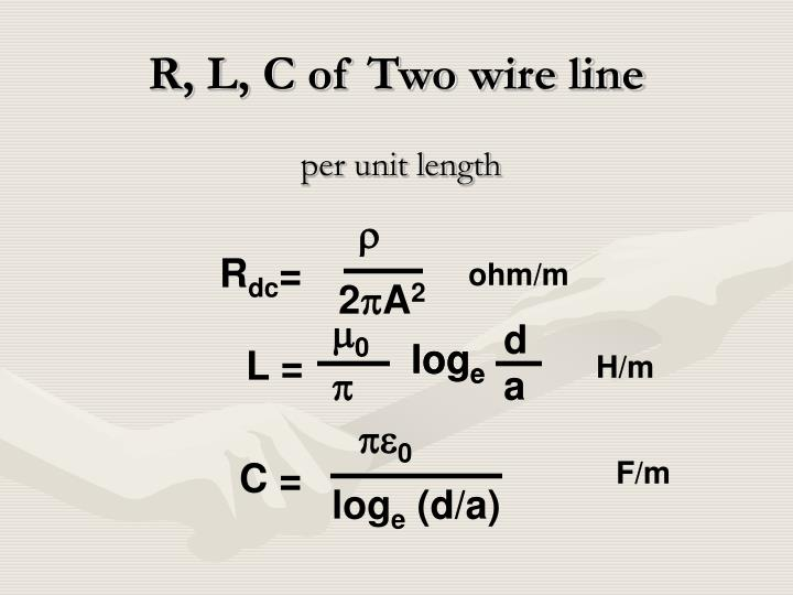 R, L, C of Two wire line