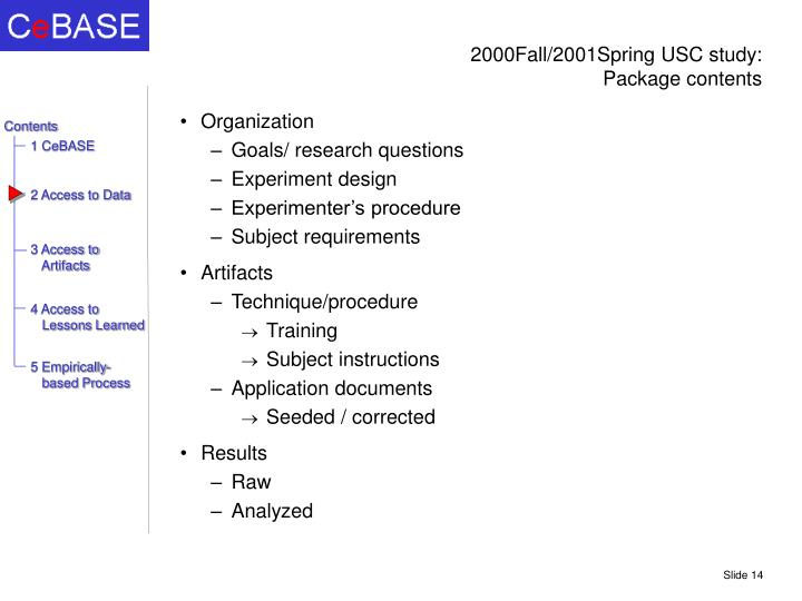 2000Fall/2001Spring USC study: