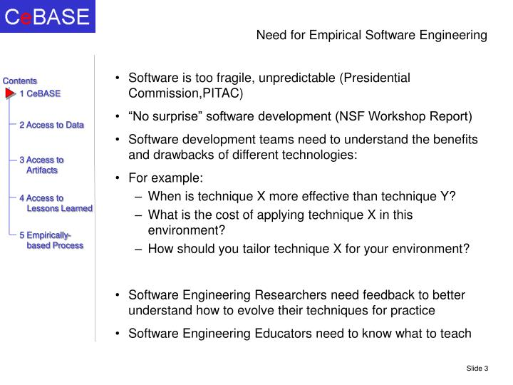 Need for empirical software engineering