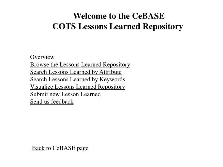 Welcome to the CeBASE