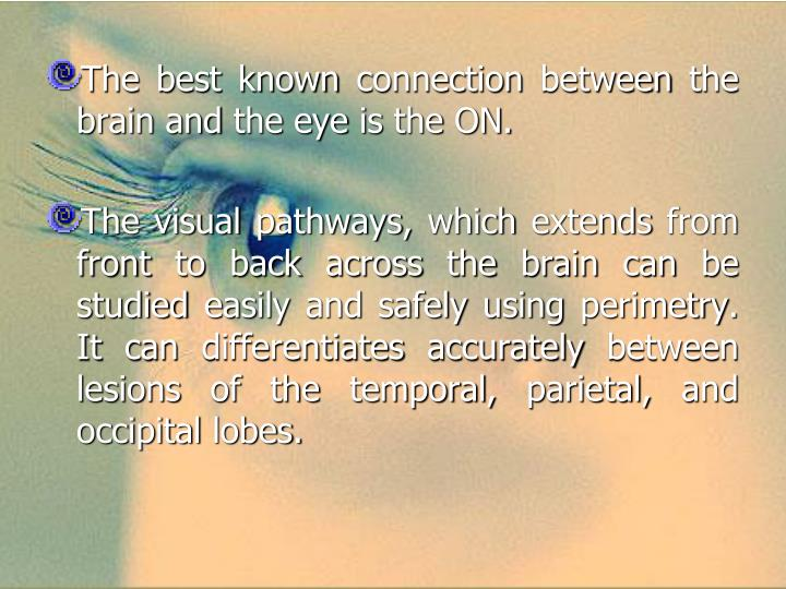 The best known connection between the brain and the eye is the ON.