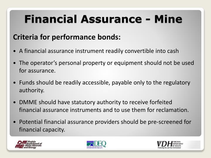 Financial Assurance - Mine