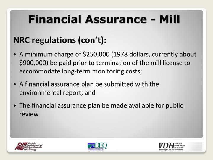 Financial Assurance - Mill
