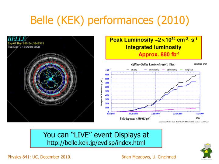 Belle (KEK) performances (2010)