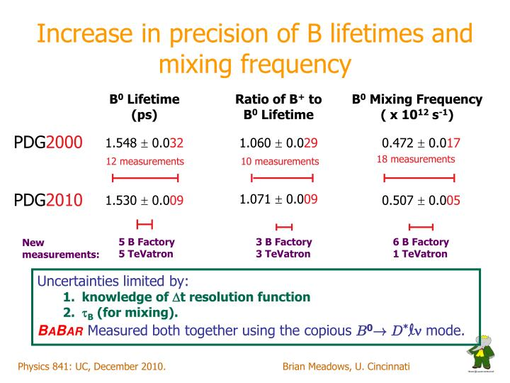 Increase in precision of B lifetimes and mixing frequency