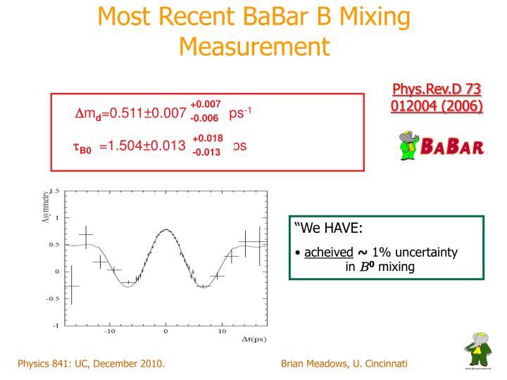 Most Recent BaBar B Mixing Measurement