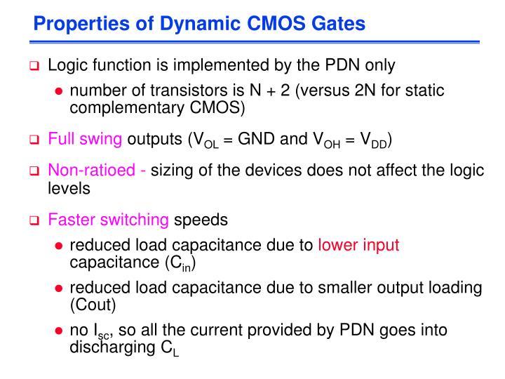 Properties of Dynamic CMOS Gates