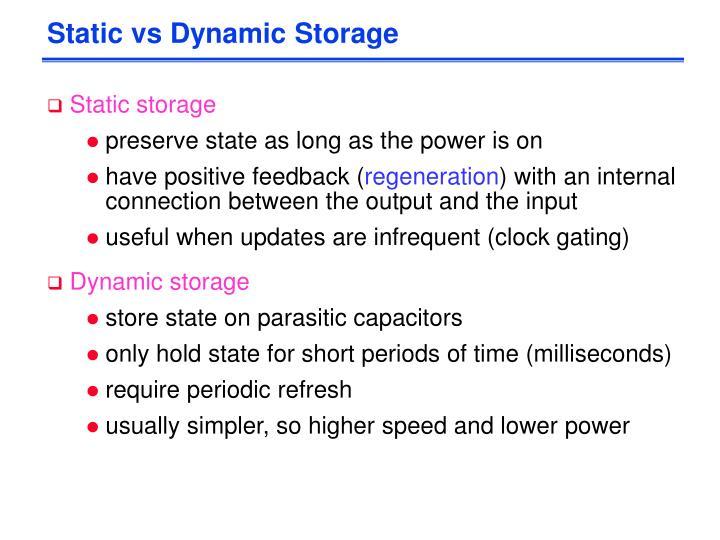 Static vs Dynamic Storage