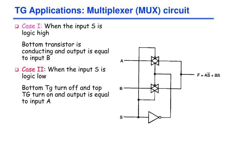 TG Applications: Multiplexer (MUX) circuit
