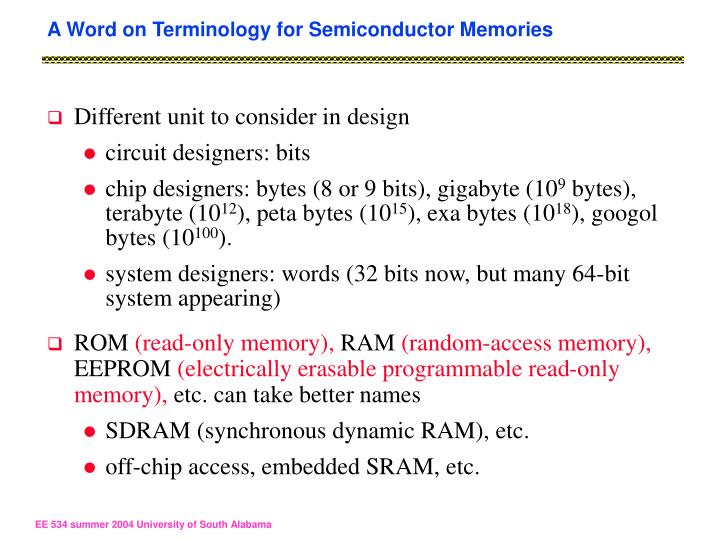 A Word on Terminology for Semiconductor Memories