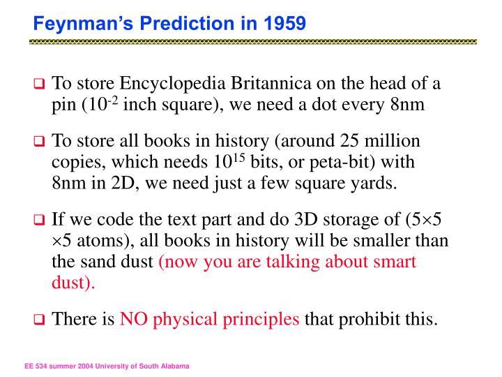 Feynman's Prediction in 1959