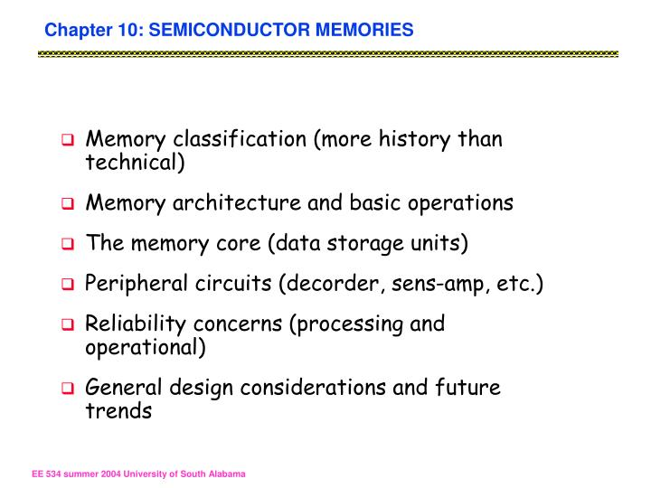 Chapter 10: SEMICONDUCTOR MEMORIES