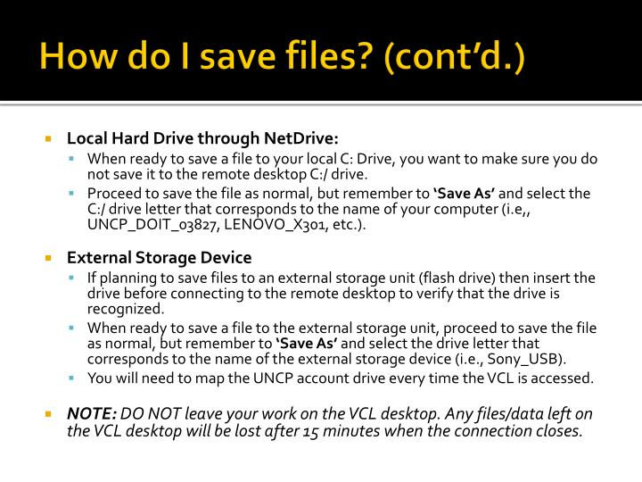 How do I save files? (cont'd.)