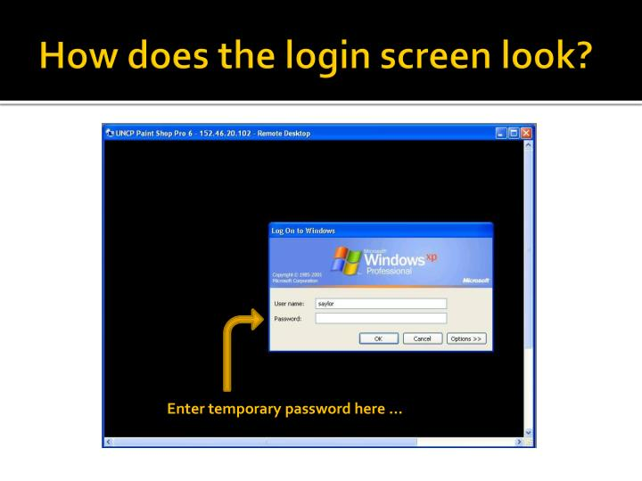 How does the login screen look?
