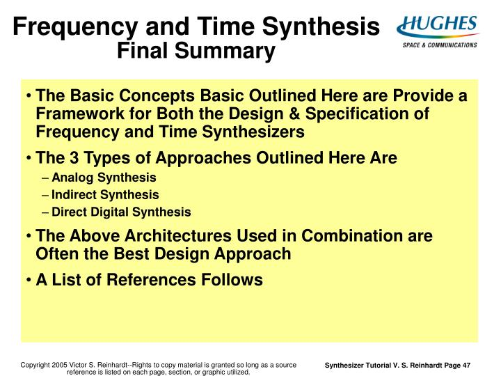 Frequency and Time Synthesis