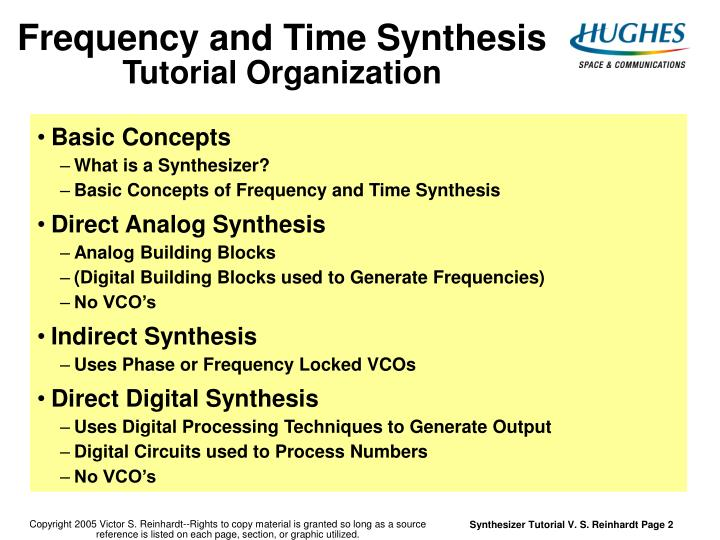 Frequency and time synthesis tutorial organization