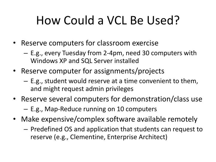 How Could a VCL Be Used?