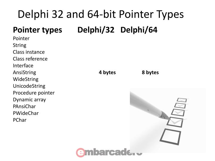 Delphi 32 and 64-bit Pointer Types