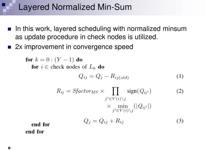 Layered Normalized Min-Sum