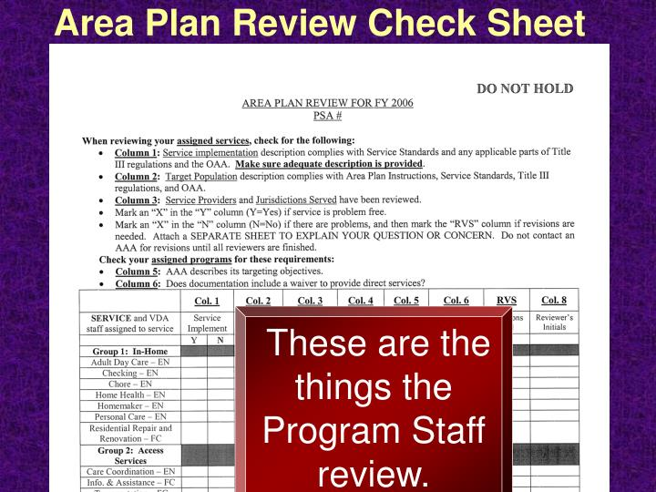 Area Plan Review Check Sheet for FY 2006