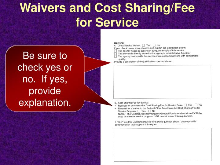 Waivers and Cost Sharing/Fee for Service