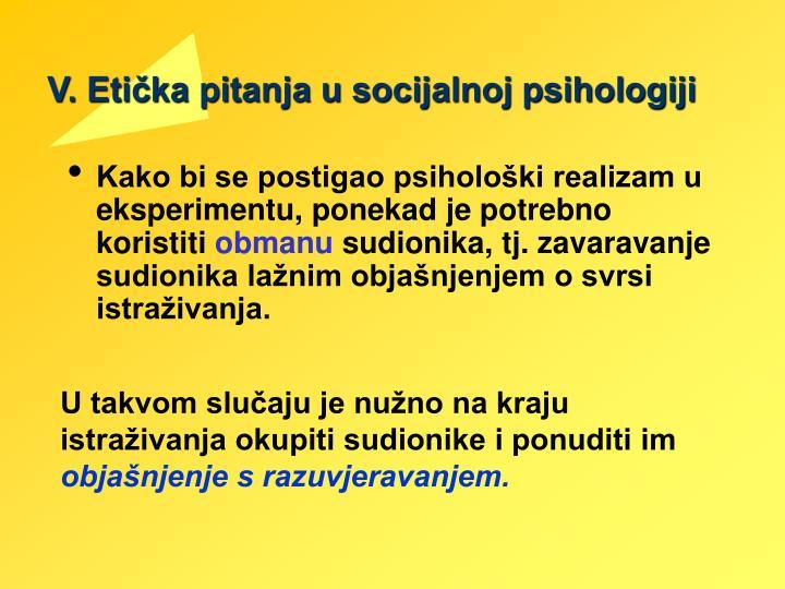 V. Etička pitanja u socijalnoj psihologiji