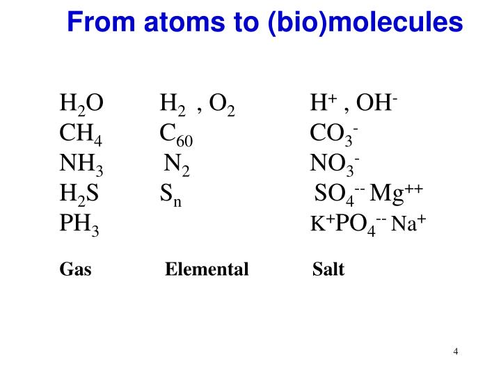 From atoms to (bio)molecules