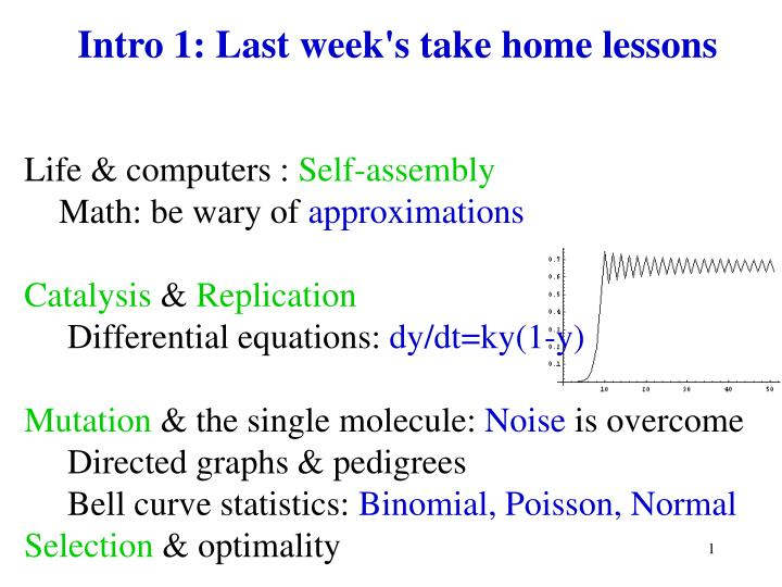 Intro 1 last week s take home lessons