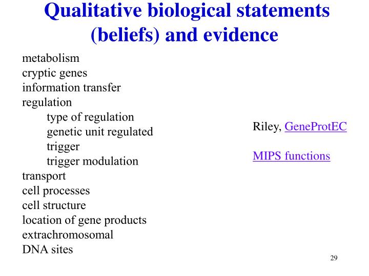 Qualitative biological statements (beliefs) and evidence