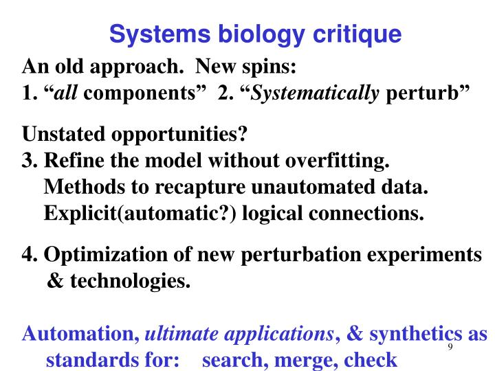 Systems biology critique
