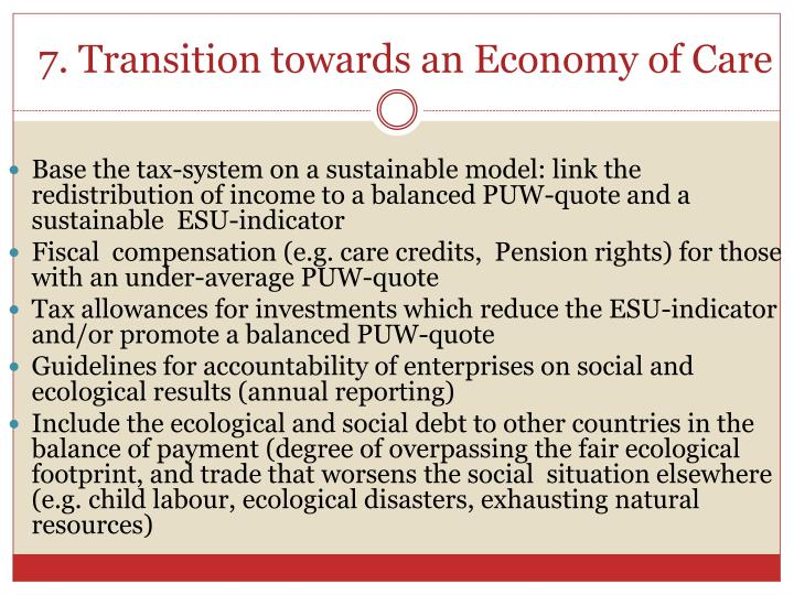 7. Transition towards an Economy of Care