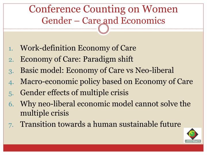 Conference counting on women gender care and economics